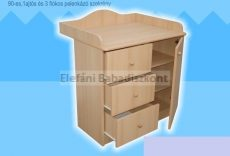 Kinder Möbel Réka Pelenkázó szekrény 1 ajtó 3 fiók (2 csomagos) #fehér
