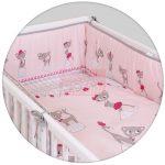 Ceba baby Ágynemű huzat fejvédővel #Macskák Pink