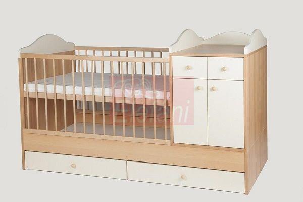 Kinder Möbel Bogi Kombi ágy 60x120cm #Bükk/Bézs