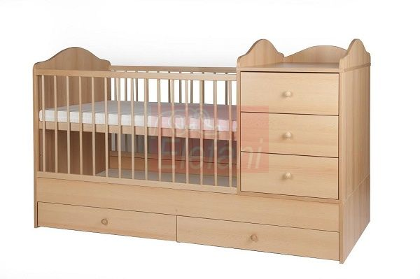 Kinder Möbel Reni Kombi ágy 3 fiókos 60x120cm #Bükk