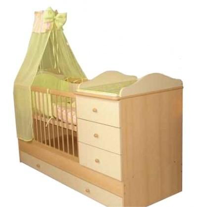 Kinder Möbel Reni Kombi ágy 3 fiókos 60x120cm #juhar