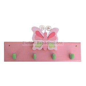 Gabeliz Fa 4 akasztós fogas #pillangó rózsa-zöld