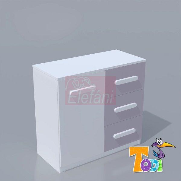 TODI Kaméleon 1 ajtós 3 fiókos komód (3 csomagos)